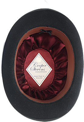 Interior of Black Bowler Hat from Cooper Stevens